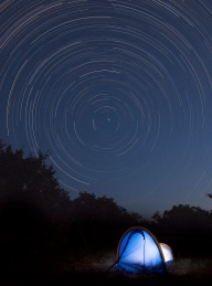 Star trails elapsed over three hours while backyard camping in Dripping Springs. Photo courtesy: Rob Greebon